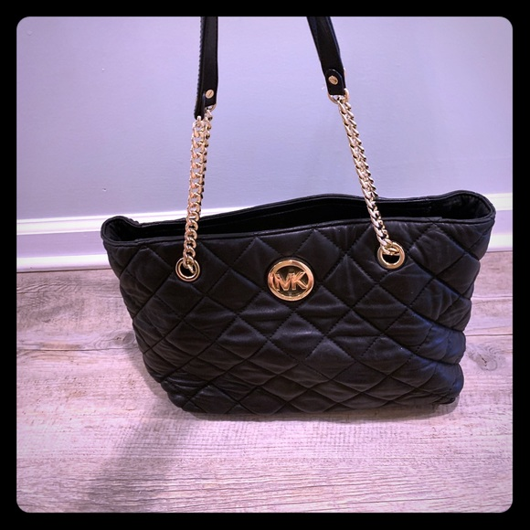 Michael Kors Handbags - MK black quilted leather tote bag